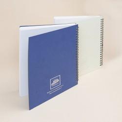 Combo 2 quyển sổ tay gáy lò xo bìa giấy mỹ thuật - Trắng và Xanh
