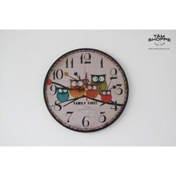 Đồng hồ gỗ in họa tiết Vintage số 11