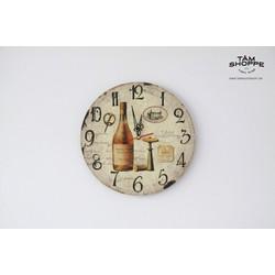 Đồng hồ gỗ in họa tiết Vintage số 15