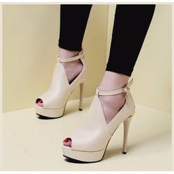 Giày cao gót 12 phân trơn cut out hở mũi màu kem có cả size 34