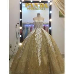 áo cưới yếm kim tuyến ren trắng hang co sẵn