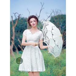Đầm xoè ren công chúa tay con xinh iu