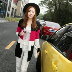 Áo khoác len phối màu