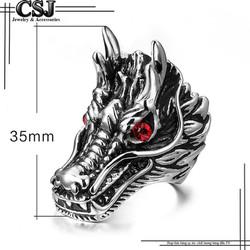 Nhẫn inox đầu rồng mắt đỏ phong cách mẫu N527