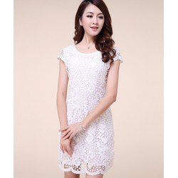 Đầm ren hoa lài trắng cao cấp