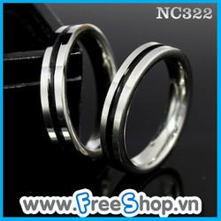 Nhẫn đôi cao cấp trơn sọc đen - BH vĩnh viễn ko đen