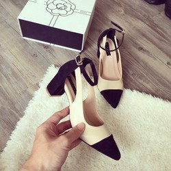 Giày gót vuông phối 2 màu cao cấp - LN1039
