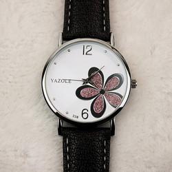 Đồng hồ nữ dây da YL338 cánh hoa bạc