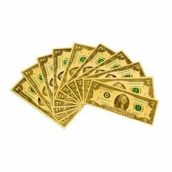 Bộ 10 tiền usd mạ vàng 2 đô la