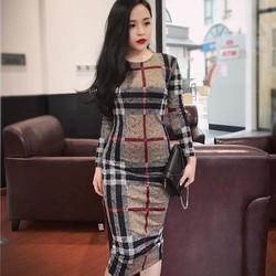 đầm ôm body tay dài sọc BBR cực đẹp Burber Dress