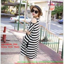 Đầm bầu Hàn Quốc kẻ sọc hở vai sành điệu DB590