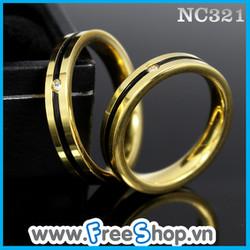 Nhẫn đôi cao cấp sọc đen, viền vàng - BH vĩnh viễn ko đen