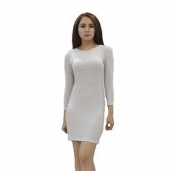 Đầm ôm cao cấp tay dài trơn cổ điển trắng sọc ngang hàng VNXK YOYO