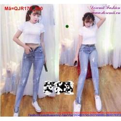 Quần jean nữ xanh nhạt xước nhẹ form đẹp QJR175