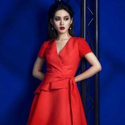Đầm xòe đỏ cổ V nơ eo xinh xắn - NR129