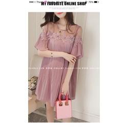Đầm suông dập li phối lưới ren _MỎ CHU SHOP