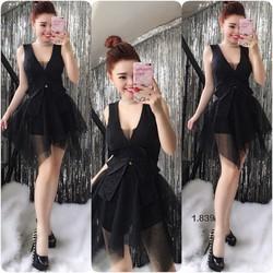 Set váy xoè phối lứoi áo nơ ren _MỎ CHU SHOP