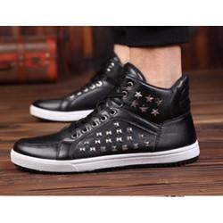 Giày nam bata nạm đinh cổ cao MÀU ĐEN - Giày sneaker nam