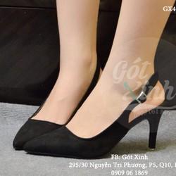 Giày nữ cao hở gót Slingback siêu hot màu đen_GX408