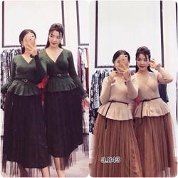Set váy xoè áo peplum chéo ngực _MỎ CHU SHOP