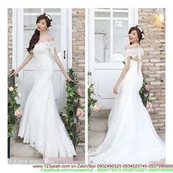 Đầm cô dâu re hoa trễ vai đuôi cá tự tin khoe sDMX137