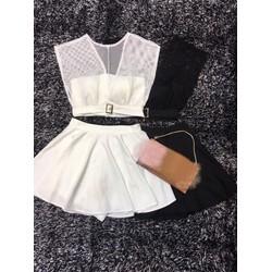 Set váy xoè áo phối lưới _MỎ CHU SHOP