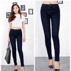 Quần jean lưng cao 1 nút xanh đen
