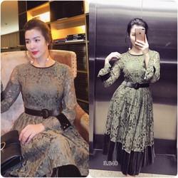 Đầm xoè ren tay loe phối chân nhung _MỎ CHU SHOP