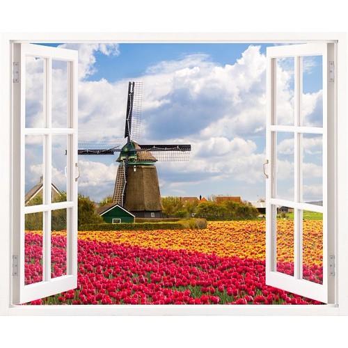 Tranh dán tường cửa sổ 3D VTC vườn hoa xuân VT0173