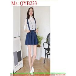 Váy yếm nữ kiểu xòe ngắn xì teen phong cách QYB223