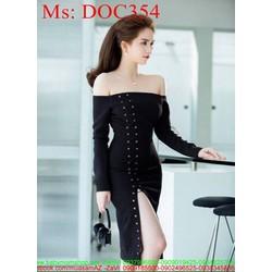 Đầm body dự tiệc cúp ngực tay dài và đan dây sành điệu DOC354