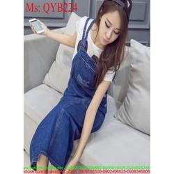 Váy yếm nữ form dài xước nhẹ thời trang cá tính QYB224