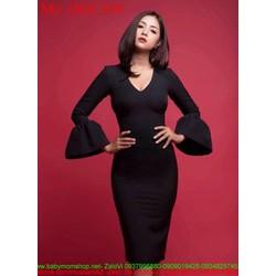 Đầm body đen cổ tim phối tay loe sành điệu thời trang DOC350