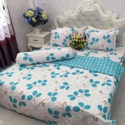 Ga giường cotton poly đẹp giá rẻ hình cỏ ba lá xanh