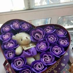 Hoa sáp trái tim tặng 1 gấu - 2 gấu