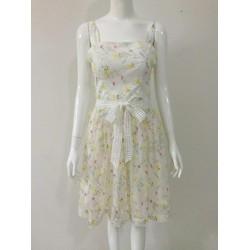 Đầm xòe họa tiết hoa cỏ mùa xuân