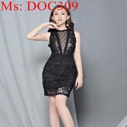 Đầm body dự tiệc chất liệu ren hoa sang trọng thời trang DOC309