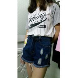 short jean rách xanh đậm
