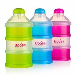 Hộp 3 ngăn đựng sữa bột,thức ăn có nắp bật cho bé Upass Thái lan