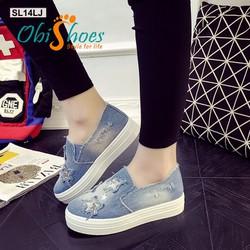 Giày Slipon Jean nữ hình sao