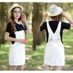 Váy yếm jean ngắn VYN01 màu trắng