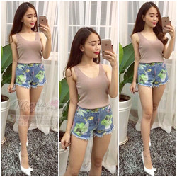 Quần short jeans was rách in hoa