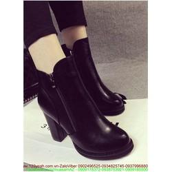 Giày boot da nữ thu đông khóa kéo đơn giản xinh xắn GUBB66