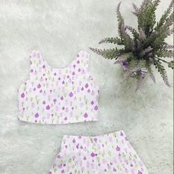 Bộ áo crop top lưng đính nơ phối quần váy cho bé 9kg-23kg