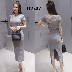 Đầm maxi len gân nhuyễn ôm body xẻ tà gợi cảm-D2747