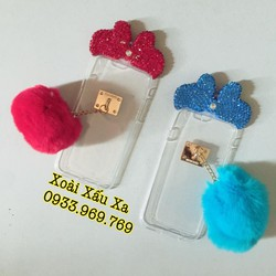 [Xoài Xấu Xa Shop] CASE ỐP LƯNG BÔNG XÙ NƠ ĐÍNH ĐÁ IPHONE 6,6S PLUS
