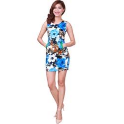 Đầm body túi xanh họa tiết xanh