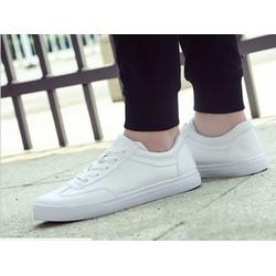 Giày bata cổ ngắn viền chỉ màu trắng