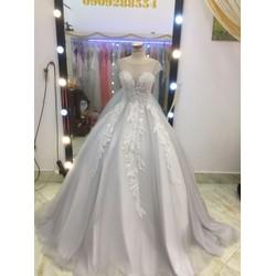 áo cưới xám giá mềm đuôi le