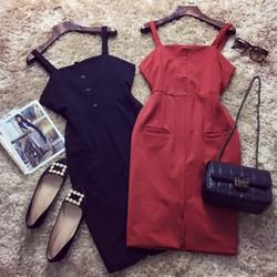 Đầm hai dây body nút 2 túi